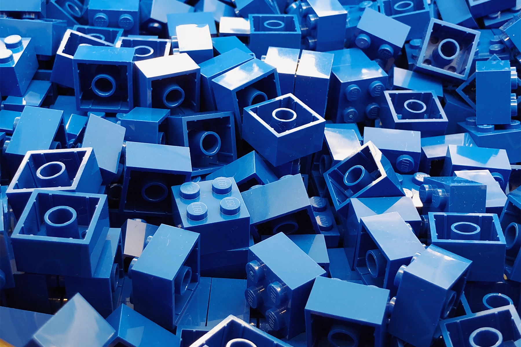 Pile of blue small lego bricks