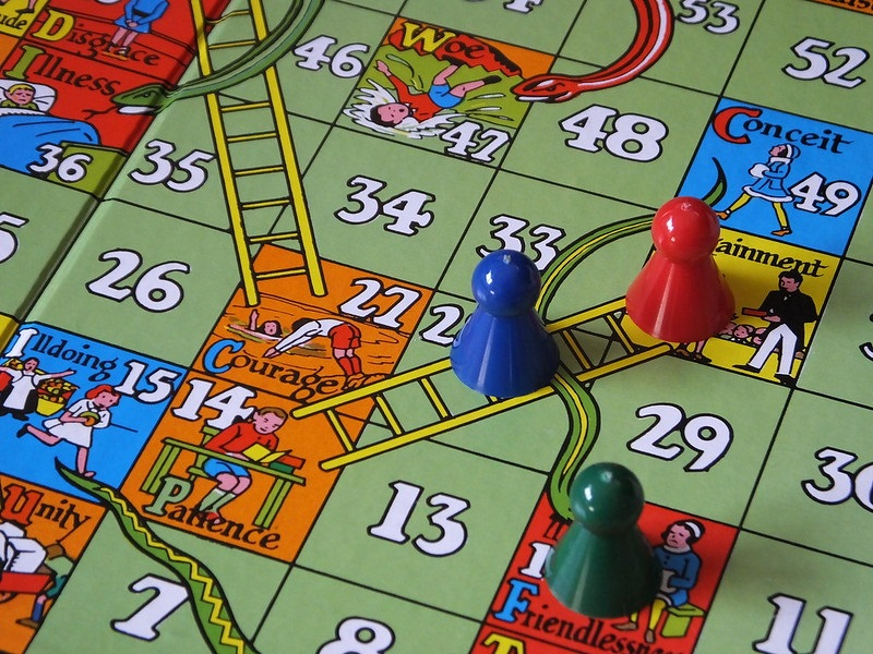 A snakes and ladders board