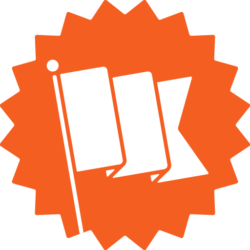 Orange sticker with a jagged edge containing a white flag
