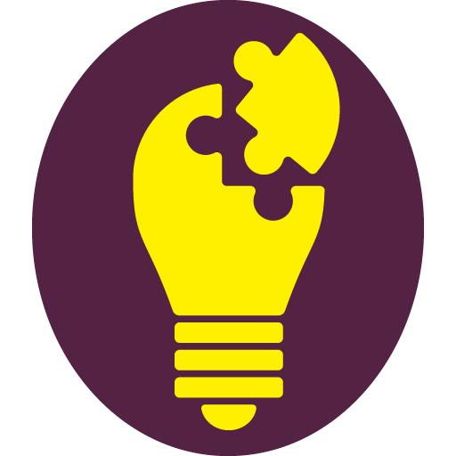 Plum oval sticker with a yellow lightbulb and a jigsaw piece of the bulb separated at the top