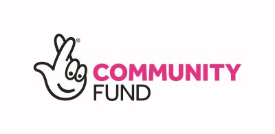 Community fund logo with graphic of a hand with fingers crossed